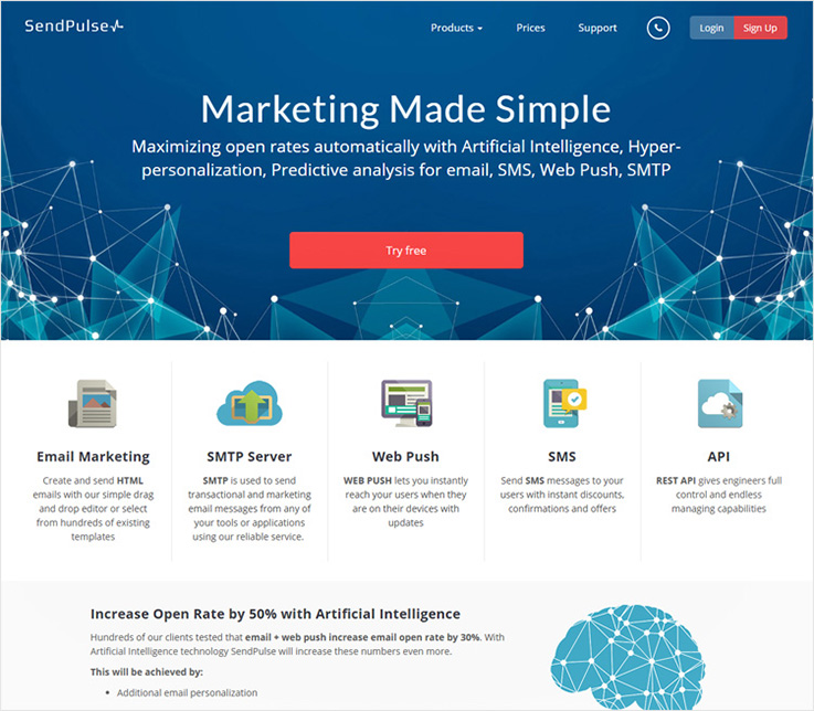 SendPulse email marketing software