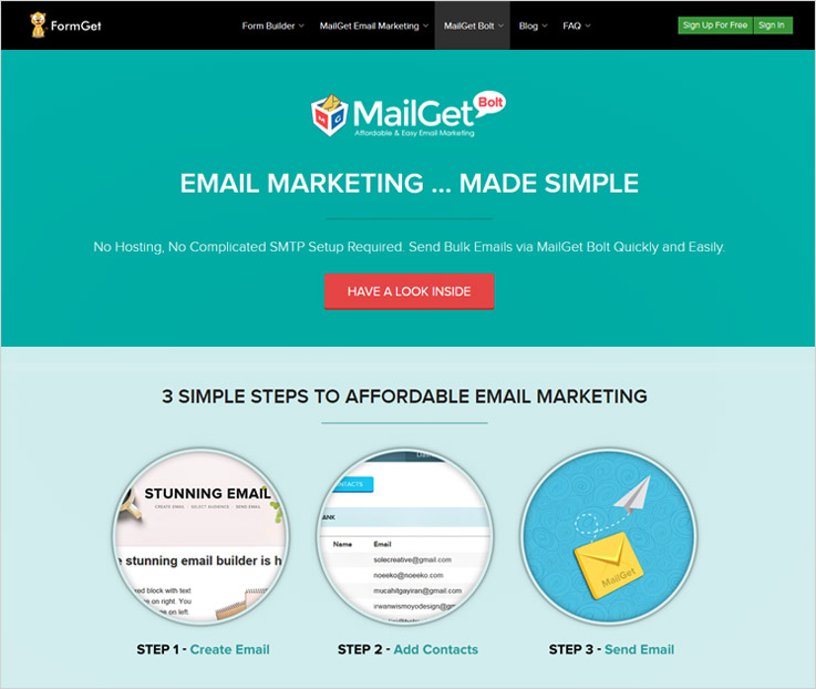 mailget-bolt free email marketing