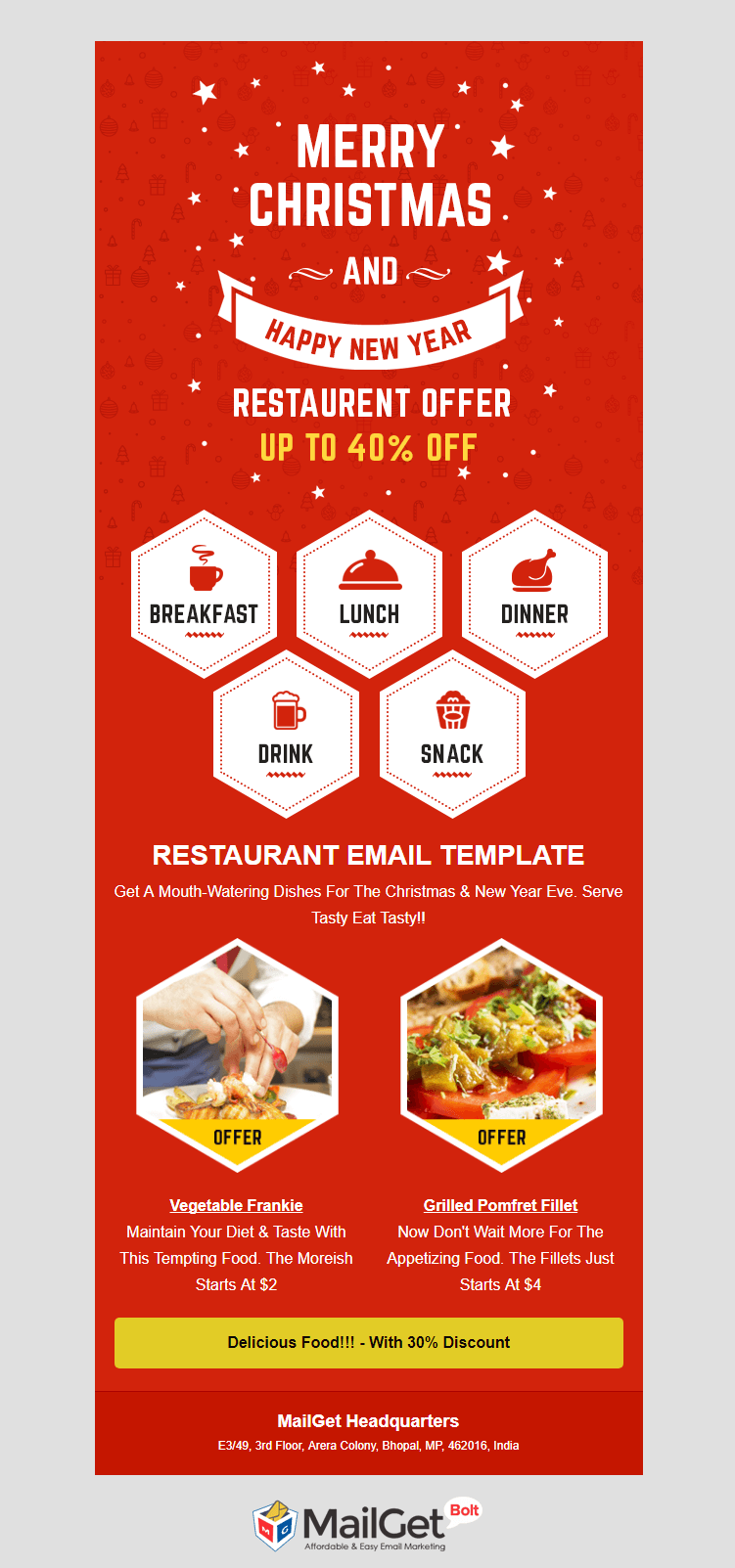 Food email newsletter