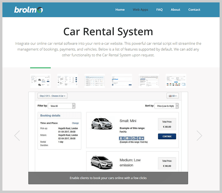 Brolmo - Car Rental Booking Software