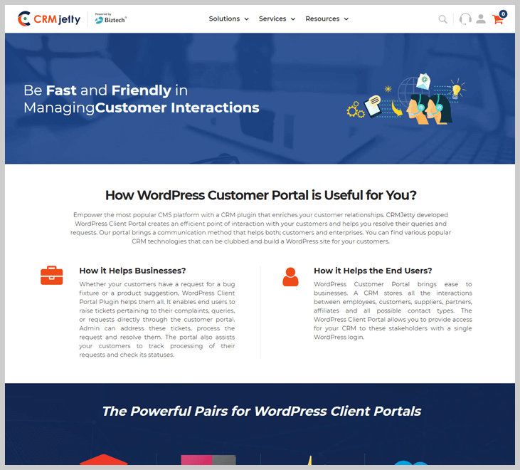 CRMjetty - Client Portal WordPress Plugin