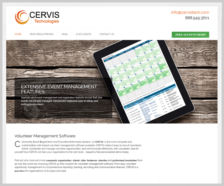 Cervis Volunteer Management Software 1