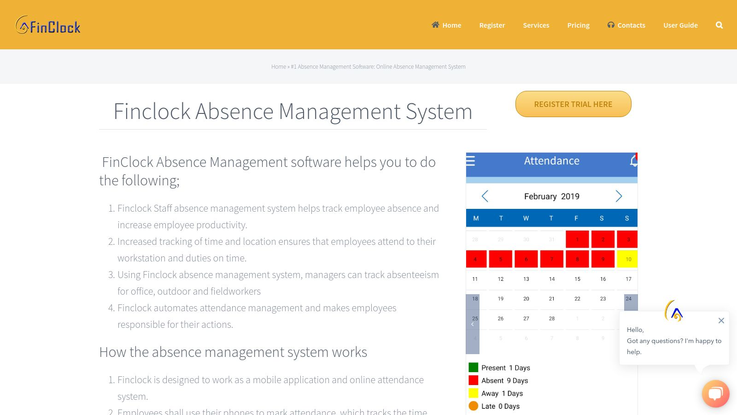 Finclock Absence Management Software