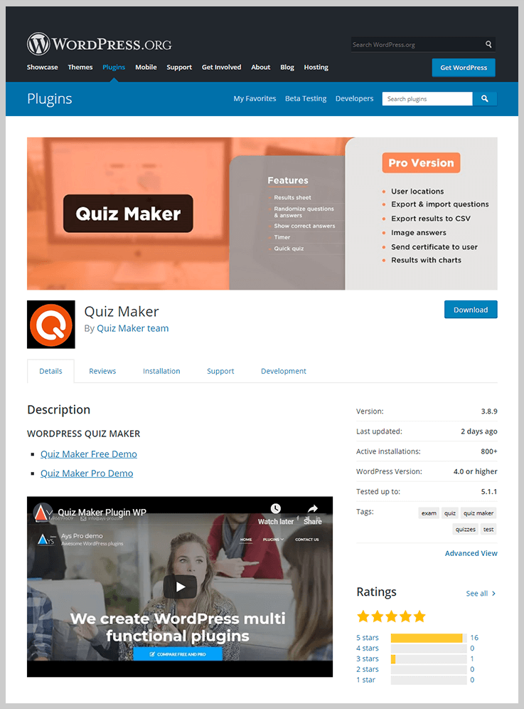 Quiz Maker - Online Exam WordPress Plugins
