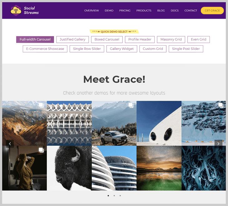Grace - Instagram Feed Gallery Plugin - Live Streaming WordPress Plugins