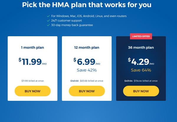 HideMyAss - Pricing