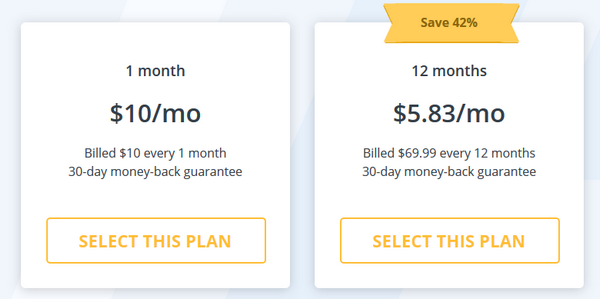 StrongVPN - Pricing