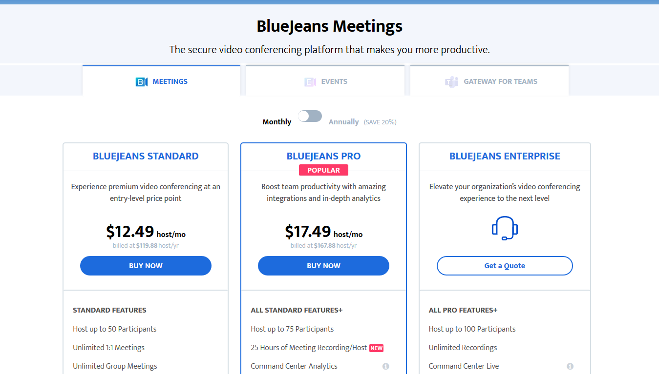 BlueJeans Pricing