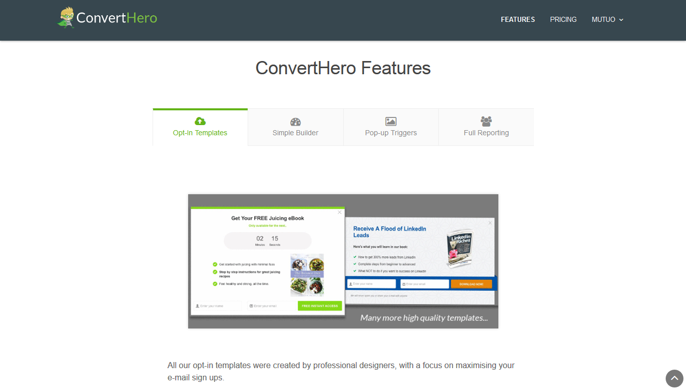 ConvertHero Features