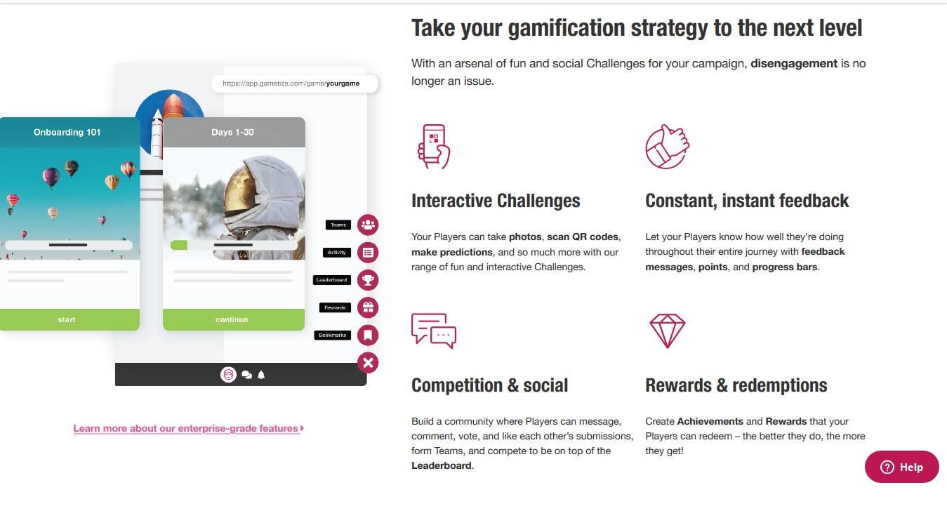 Gametize Features