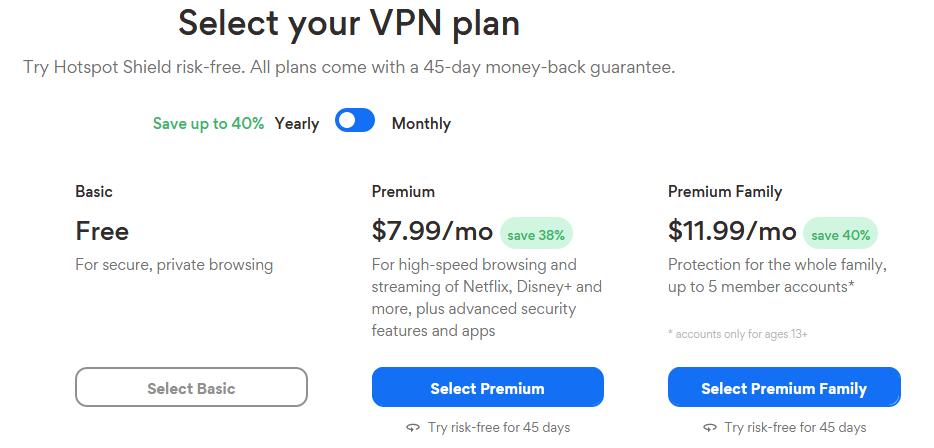 VPN - Deals - Hotspot - Shield - Pricing