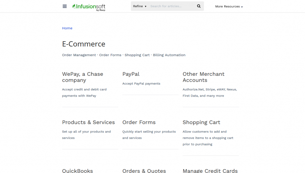 Keap - eCommerce