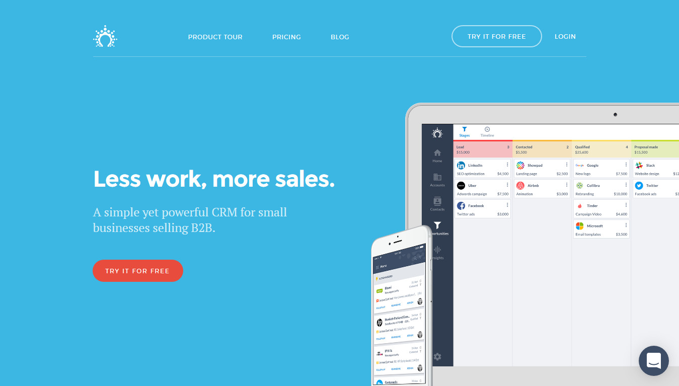 Salesflare Homepage