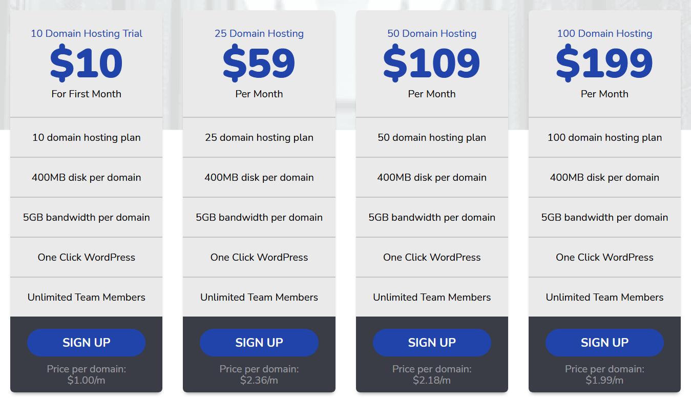 Bulk Buy Hosting Pricing