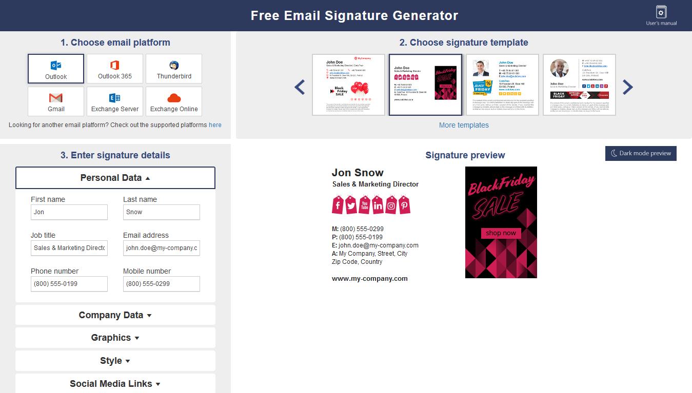 Mail Signatures Generator