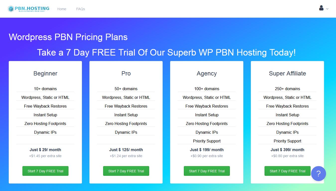PBN.Hosting Pricing