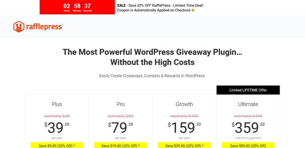 RafflePress Pricing