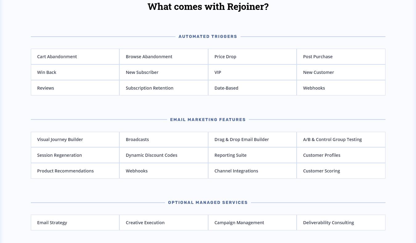 Rejoiner Features