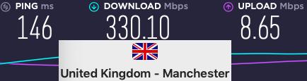 Surfshark-For-Netflix - Manchester-Speeds
